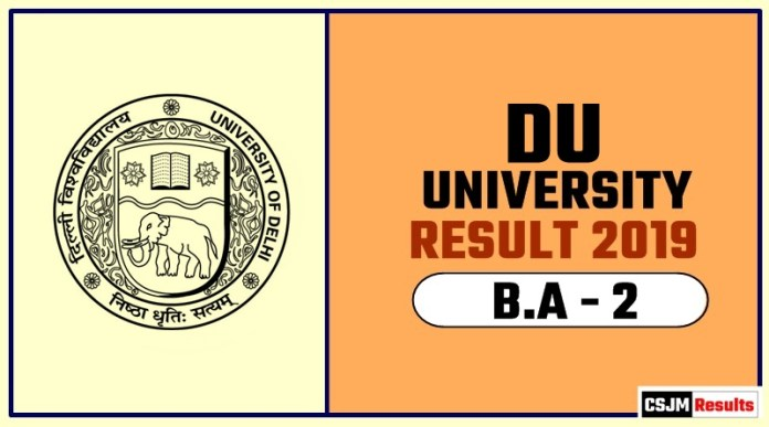 DU BA 2nd Year Result 2019 Delhi University