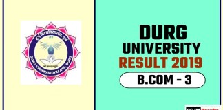 Durg University BCOM 3rd Year Result 2019