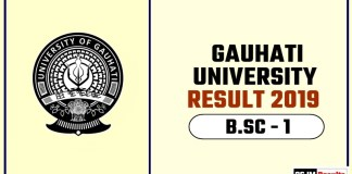 Gauhati University BSC 1st Year Result 2019
