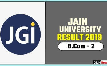 Jain University BCom 2nd Year Result 2019