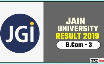 Jain University BCom 3rd Year Result 2019
