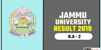 Jammu University BA 2nd Year Result 2019