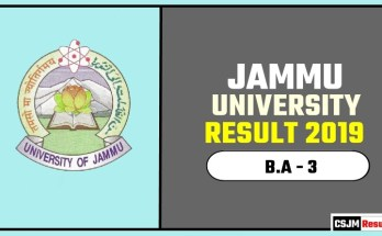 Jammu University BA 3rd Year Result 2019