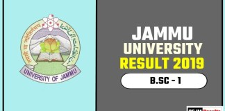 Jammu University BSC 1st Year Result 2019