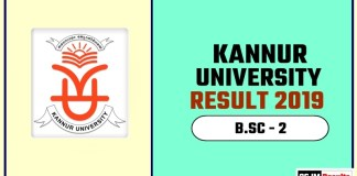 Kannur University BSC 2nd Year Result 2019