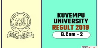 Kuvempu University BCom 2nd Year Result 2019