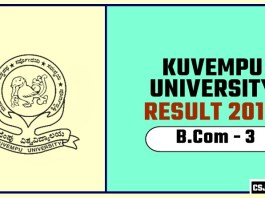 Kuvempu University BCom 3rd Year Result 2019
