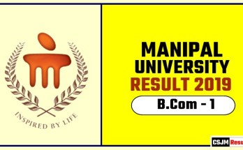 Manipal University BCom 1st Year Result 2019