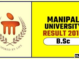 Manipal University BSc 1st 2nd 3rd Year Result 2019