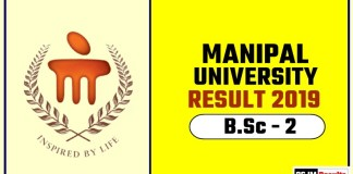 Manipal University BSc 2nd Year Result 2019