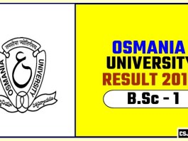 Osmania University BSc 1st Year Result 2019
