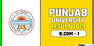 PUCHD BCOM 1st Year Result 2019 Pujab University
