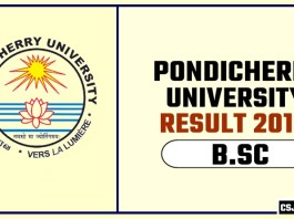 Pondicherry University BSC 1st 2nd 3rd Year Result 2019