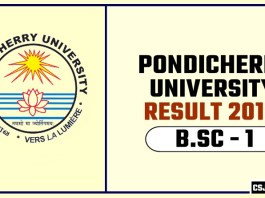 Pondicherry University BSC 1st Year Result 2019