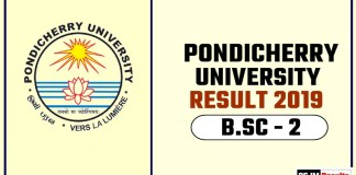Pondicherry University BSC 2nd Year Result 2019