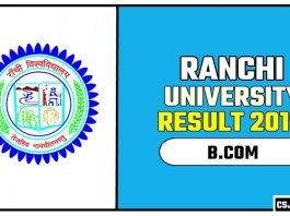 Ranchi University BCOM 1st 2nd 3rd Year Result 2019