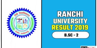 Ranchi University BSC 2nd Year Result 2019