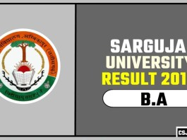 Sarguja University BA 1st 2nd 3rd Year Result 2019