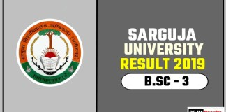 Sarguja University BSC 3rd Year Result 2019