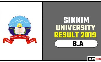 Sikkim University BA 1st 2nd 3rd Year Result 2019