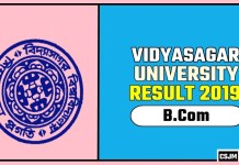 Vidyasagar University BCom 1st 2nd 3rd Year Result 2019