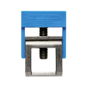 Accessories, Clamping yoke for busbar, Rated cross-section: Clamping yoke, PA, Green/yellow, Feed-through (bushing)