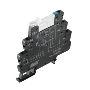 Relay module, 24 V DC ±20 %, Green LED, Free-wheeling diode, Reverse polarity protection, 1 CO contact (AgNi 5µm Au) , 250 V AC, 6 A, Screw connection