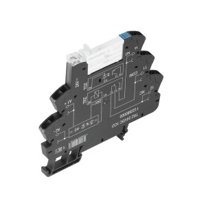 Relay module, 24 V DC ±20 %, Green LED, Free-wheeling diode, Reverse polarity protection, 1 CO contact (AgNi 5µm Au) , 250 V AC, 6 A, Tension-clamp co