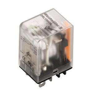 Miniature power relay, 230 V AC, red LED, 2 CO contact (AgCdO) , 250 V AC, 10 A