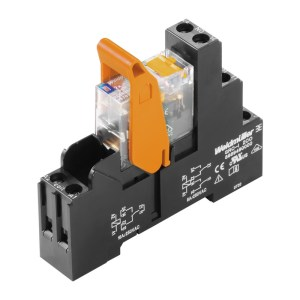 Relay module, 24 V DC, Green LED, Free-wheeling diode, 2 CO contact with test button (AgNi 90/10) , 250 V AC, 8 A, Screw connection