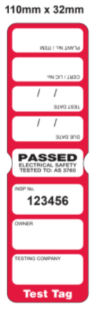 TEST TAG, SLIM, CSL, RED, JAN-MARCH, 100/PK