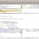 Large linux emac window open showing a breakpoint