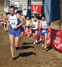 (Photos courtesy of Stephen Brown, chief of Air Force Sports) Capt. Jason Schlarb, Space Logistics Group, takes the lead during the Men's Masters 8-kilometer race during the 2009 Armed Forces Cross Country Championship in Derwood, Md., Feb. 7.