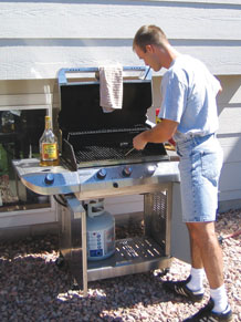 (U.S. Air Force file photo) While barbecues provide a fun and casual dining experience, they also provide the ideal conditions for a costly mishap. Keep the grill off wooden decks and away from children's play areas and low-hanging tree branches.