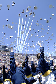 During commencement exercises May 27 in Falcon stadium, the Academy graduated 1,046 cadets. Photo by Dennis Rogers
