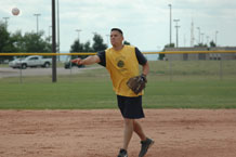 Roger Gallardo, 2nd Space Operations Squadron pitcher, induced seven fly balls and struck out two batters in 2nd SOPS 8-5 win over 4th SOPS July 28.