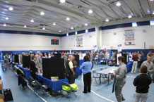 More than 700 Airmen, civilians and family members attended the 50th Force Support Squadron Expo and Information Fair at the Schriever Fitness Center Oct. 14. Representatives from 18 local businesses and universities joined 50th Force Support Squadron agencies in providing information to attendees.