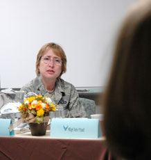 Col. Sandra Adams, Commander Air Force Services Agency, listens as a group of Air Force spouses provide suggestions for improving support services at the base. Colonel Adams visisted Schriever to explain the intent of the Year of the Air Force Family campaign and gather information the Air Force will use to enhance support services in the future.