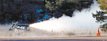 Cadets in the FalconLaunch program conducted a successful static test-fire of the FalconLaunch-8 rocket's propulsion system Jan. 15. (Photo Courtesy of the Department of Astronautics)