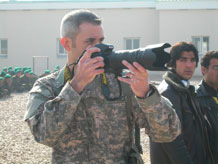 Master Sgt. Chris DeWitt of the Academy Public Affairs Office is deployed as a photojournalist mentor to a three-person Public Affairs advisory team in Northern Afghanistan. Photo by MSgt. Dave DeRemer