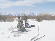 JACKSON, Wyo. -- Capt. Gregory Izdepski (center) and his family, Brent Wyatt (front), Jessica Wyatt (center right) and Alec Wyatt (back) take a lunch break in the Grand Teton National Park during Operation Purple Military Family Retreat in Jackson, Wyo., March 19 to 23. The camp, sponsored by National Military Family Association, is free and designed for families to reconnect after a parent has been deployed. Peterson youth, ages 8 to 15, can sign up now for Operation Purple camp this August in Sedalia, Colo. For details call the Peterson Airman and Family Readiness Center at 556-6141. (Courtesy photo/Karen Izdepski)