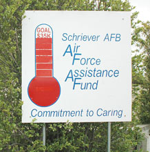 Schriever's Air Force Assistance Fund Installation Project Officer Capt. Rhett Gasaway said he expects the base will eclipse its $34,900 goal by more than $1,000 by the closing date of the fundraising campaign here on May 14. (U.S. Air Force photo/Scott Prater)