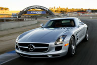 The 563-horsepower, V-8-powered SLS AMG with gullwing doors recalls the iconic Mercedes-Benz 300SL from the mid-1950s.