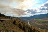 The Rocky Mountaineer winds its way along the Fraiser River Canyon on its way to Whistler, British Columbia. Photo courtesy of Jim Farber.