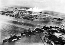 "Japanese torpedo attack on ""Battleship Row,"" Pearl harbor, Dec. 7, 1941 (U.S. Air Force photo)"