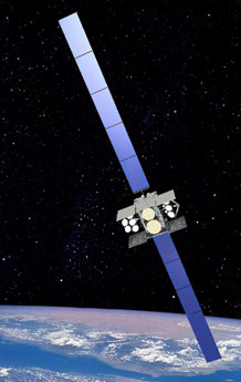 An artist's rendering of a Wideband Global Satcom satellite. The 3rd Space Operations Squadron has been testing a satellite situational awareness tool known as Blue Force Status for the past two years using data collected from WGS satellites.  (Courtesy graphic)