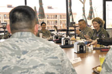 PETERSON AIR FORCE BASE, Colo. – Lt. Gen. Susan J. Helms, 14th Air Force commander (right), and Chief Master Sgt. James MacKinley, 14th Air Force command chief, met with 21st Space Wing Airmen for lunch March 31 at the Aragon Dining Facility on Peterson Air Force Base. General Helms' visit to Peterson included a briefing with Col. Stephen N. Whiting, 21st Space Wing commander, tours of the 16th and 76th Space Control Squadrons and lunch with the 21st Space Wing's annual award winners and professional performers from the recent Operational Readiness/Unit Compliance Inspection. (U.S. Air Force photo/Craig Denton)