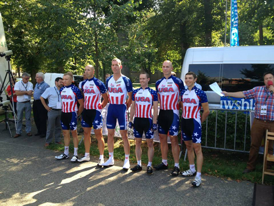 (Courtesy photo) BELGIUM – The U.S. Armed Forces Cycling Team poses for a picture at the 2013 International Military Sports Council held in Belgium. Capt. Ian Holt (fourth from left), 16th Space Control Squadron flight commander and cyclist represented the United States in his fifth CISM event where he placed 11th overall in the 80-mile road race.