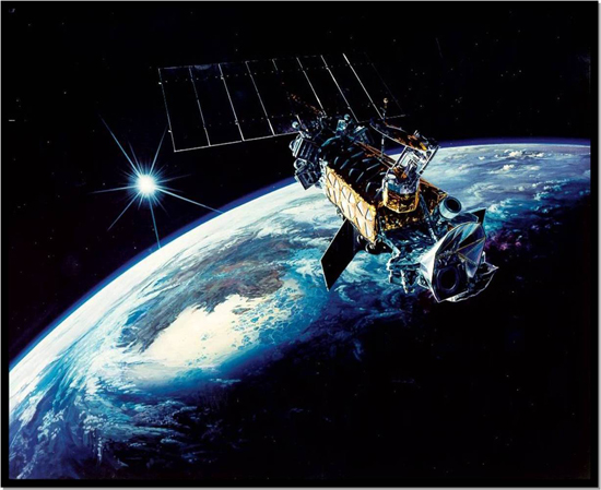 (Courtesy photo)  Defense Meteorological Satellite Program satellites, like the one shown in an artist's rendition here, provide critical strategic and tactical meterological and environmental data to military and civilian users around the world. The 50th Operations Group Detachment 1 recently conducted a data link test of DMSP Flight 19 as crews prepare the satellite for launch in April 2014.