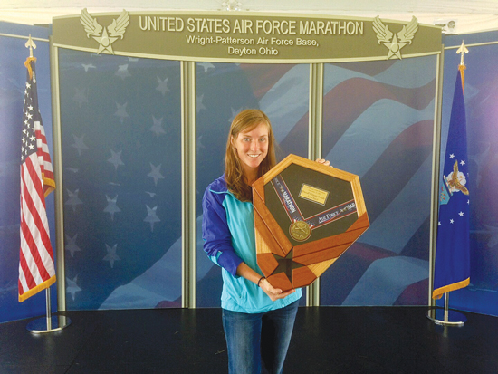 (Courtesy photo) WRIGHT-PATTERSON AFB, Ohio — Peterson's own 2nd Lt. Sarah Auer, 21st Civil Engineer Squadron operations facility engineer, represented Headquarters Air Force Space Command at the 2013 AF Marathon on Sept. 21 at Wright-Patterson Air Force Base, Ohio. Auer took first place with a time of 3:04:53 in the full-marathon category for active-duty females, and was only nine seconds behind the overall female finisher.
